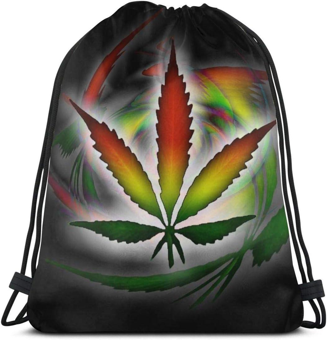 Elsaone Mochila con cordón de Marihuana Rasta Colors Weed para Bolsa de Gimnasia Unisex 36 x 43 cm / 14.2 x 16.9 Pulgadas