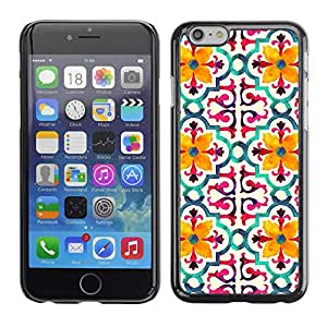 Soft Silicone Rubber Case Hard Cover Protective Accessory Compatible with Apple iPhone? 6 (4.7 Inch) - flower stylized pattern yellow