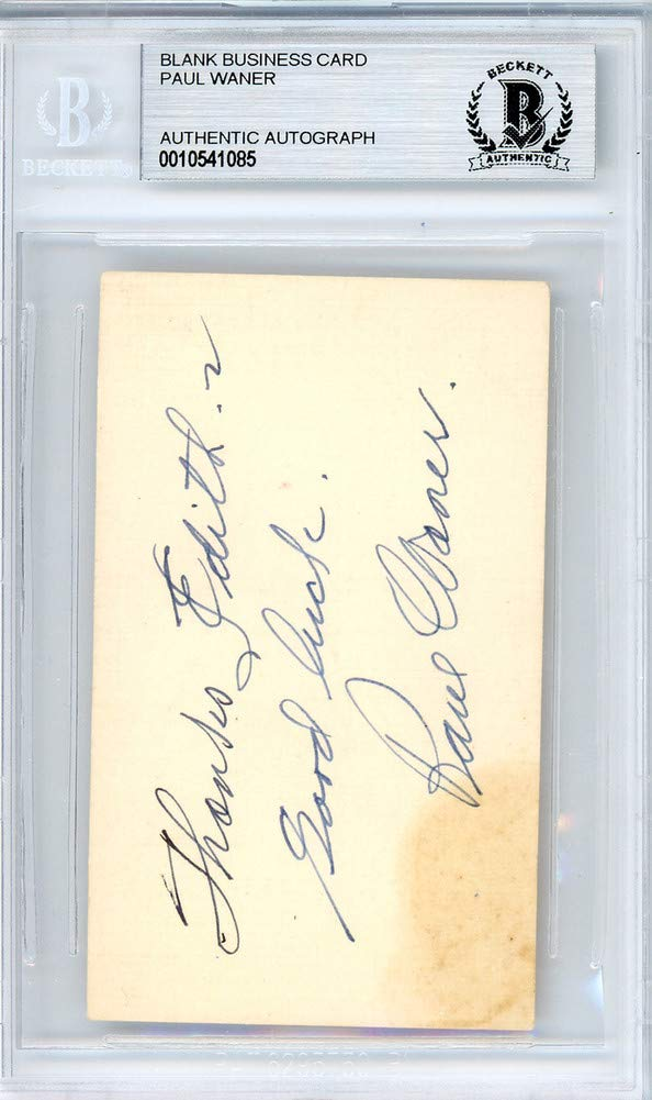 Paul Waner Signed Auto 2x3.5 Blank Business Card Pittsburgh Pirates To  Edith Good Luck Vintage Playing Days Signature - Beckett Certified at  Amazon s Sports ... d71f4fddd