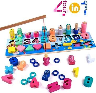 Juegos Montessori Matematicas Juguetes Educativos de Madera Juego de Pesca Magnética Juguete Madera Aprendizaje Juguetes Cálculo Preescolar Puzzle Infantil de Bloques para Niños Niñas 2 3 4 Años: Amazon.es: Juguetes y juegos