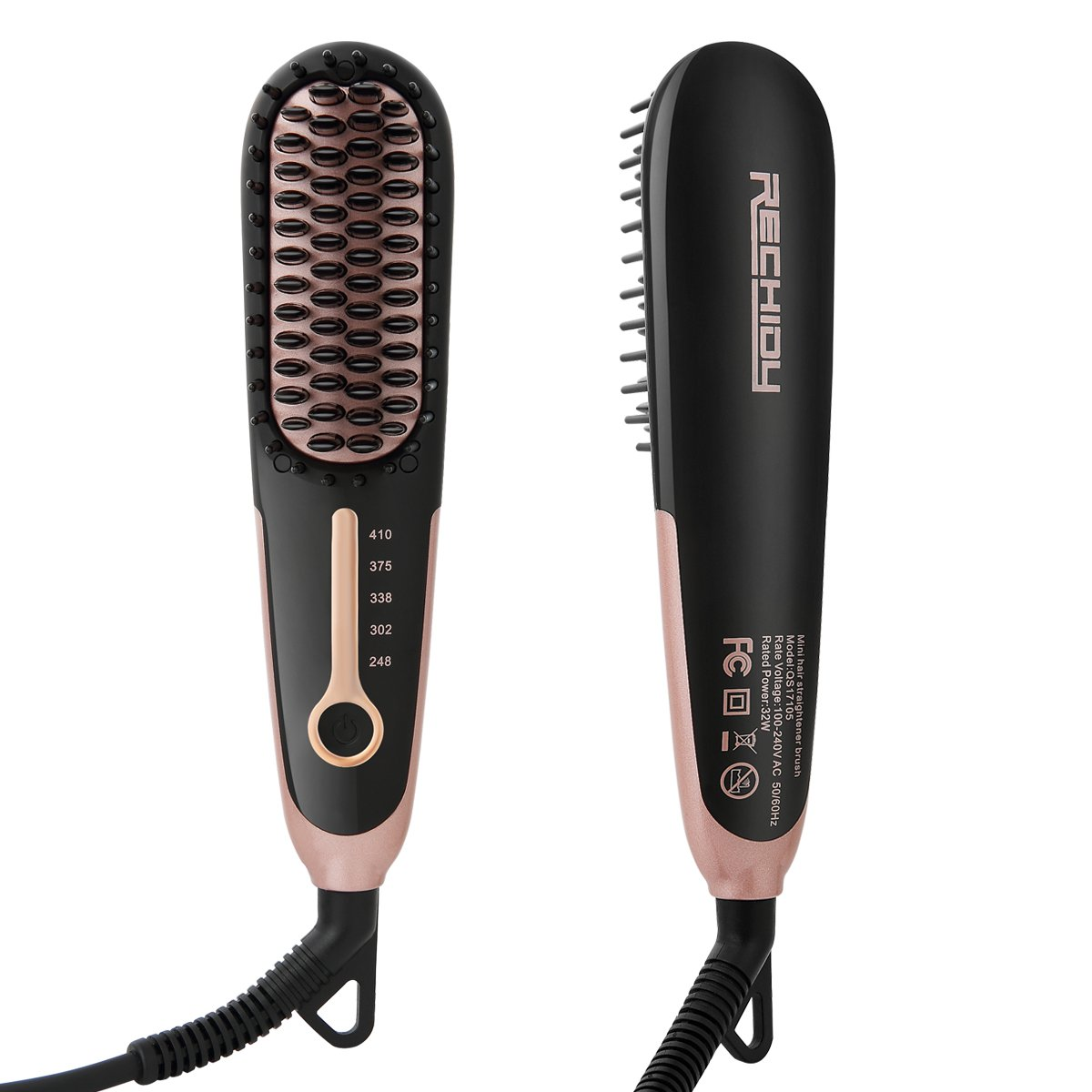 Hair Straightener Brush Enhanced Faster Heating Ceramic Hair Straightening Brush with Anti -Scald and Auto-off Function Dual Voltage LED Display,Free Heat Resistant Glove and Gift Bag