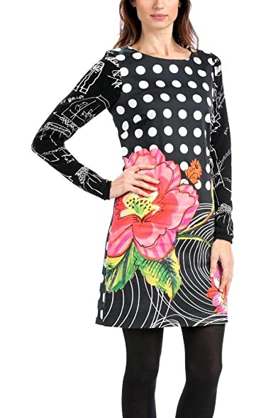 Desigual Womens Black Vestido Selen Dress 40 UK 12