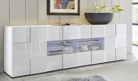 mobile contenitore 2 ante 4 cassetti moderno BIANCO LUCIDO soggiorno ...