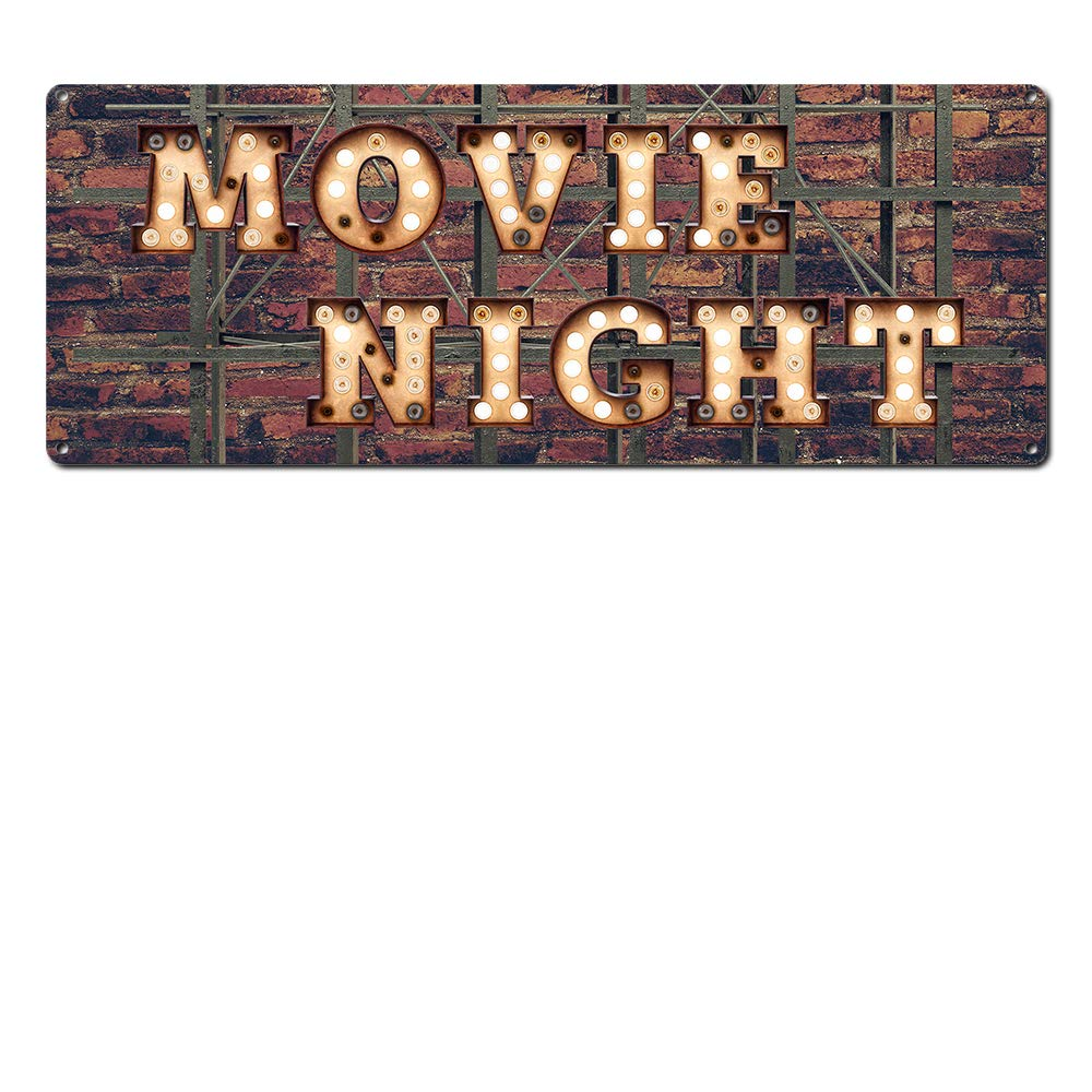 """Movie Night ~ Home Theater Decor ~ 6"""" x 16"""" Vintage Metal Sign ~ Wall Decor Marquee for Movie, Media, Cinema Room & Gifts for Movie Lovers, Buffs, Actor, Actress, Screenwriter, Producer (RK3073_6x16)"""