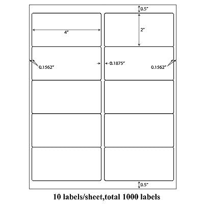 "10000 Address Shipping Labels Laser Ink Jet 10 Per Sheet 4/""x2/"" 10UP 1000 Sheets"