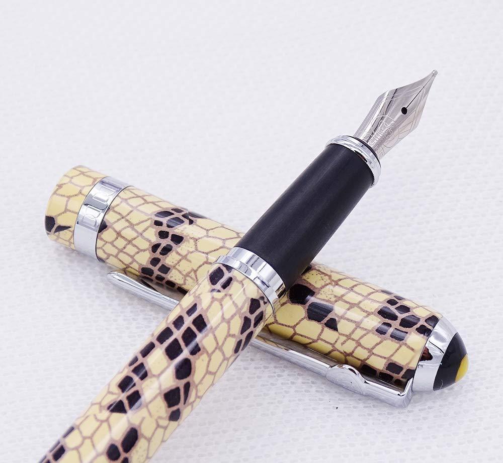 Pluma estilogr/áfica Duke 962 punta mediana con estuche para bol/ígrafos dise/ño de piel de serpiente