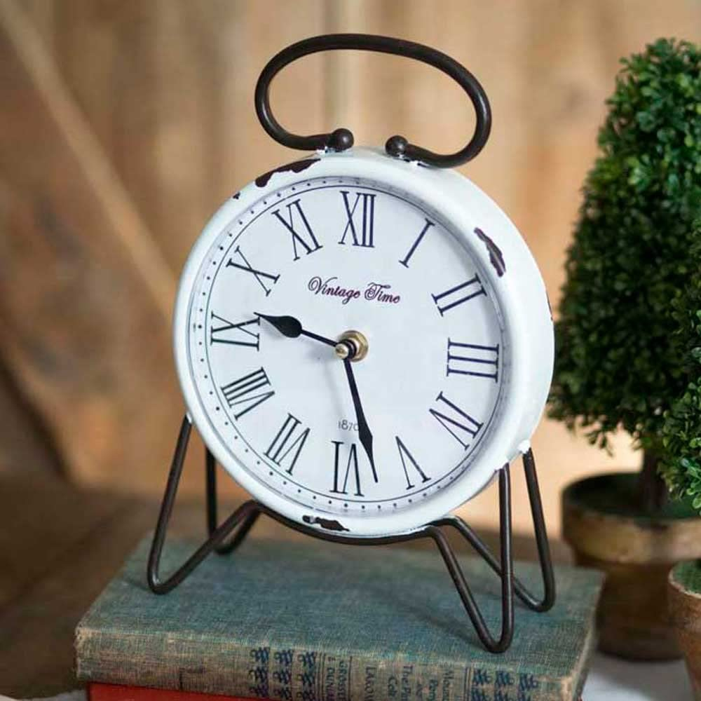 White Distressed Vintage Time Tabletop Clock