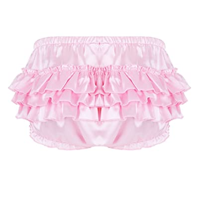 Agoky Men's Sissy Lingerie Panties Satin Frilly Thongs Crossdress Bloomers Ruffled Skirted Underwear at Amazon Men's Clothing store