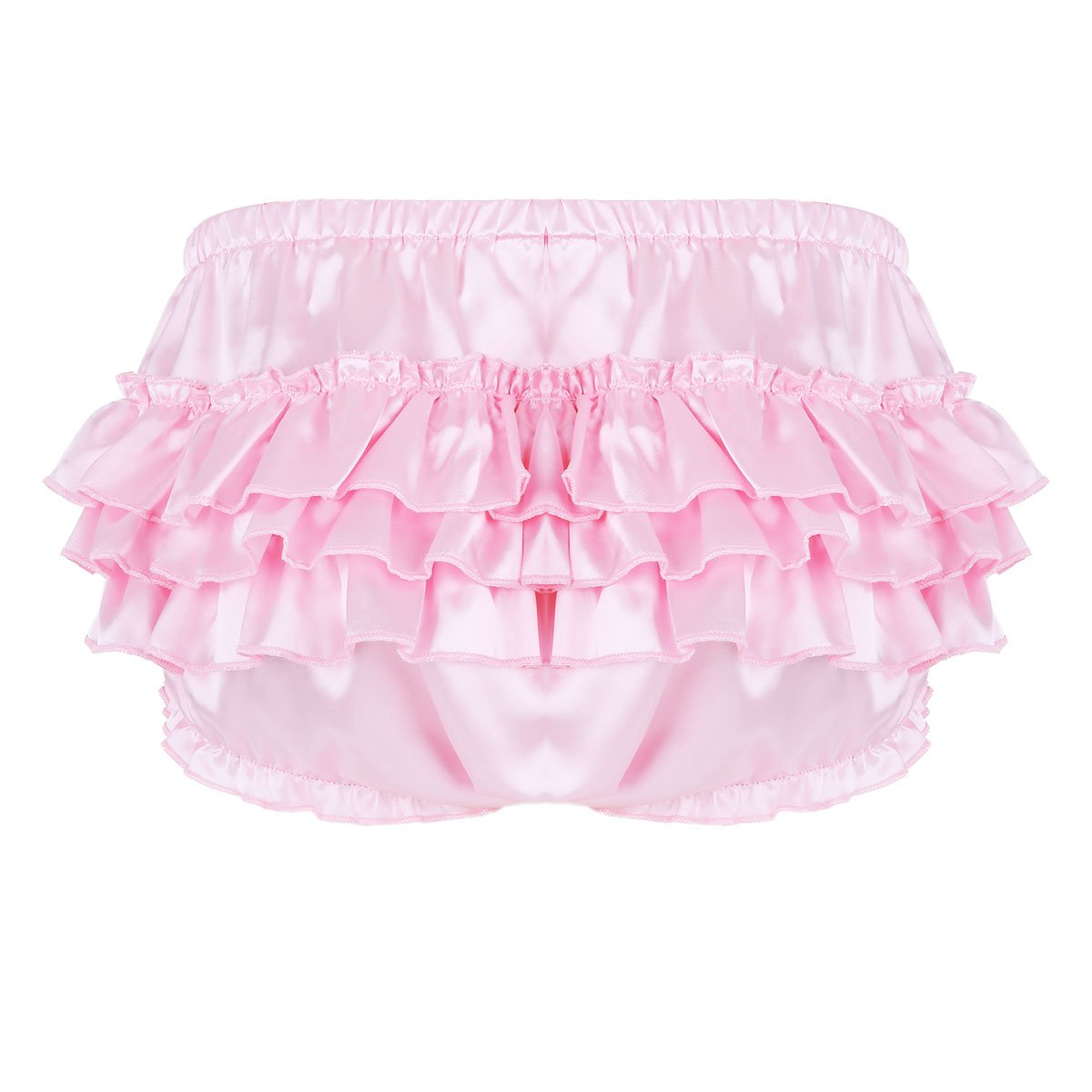 8b8dd4b77 Galleon - Alvivi Mens Sexy Satin Ruffled Bloomer Briefs Lingerie Sissy  Tiered Skirted Underwear Panties Pink X-Large (Waistline 34.0