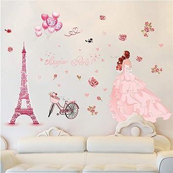 Mddrr Romantique Stickers Muraux Fille De Mariage Rose Ballon Tour ...