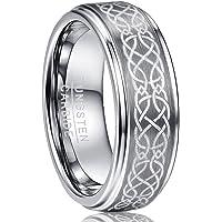 Vakki(ヴァッキ) メンズ リング 指輪 レアメタル【タングステン】 超硬 波紋 平打ち 幅広さ8mm