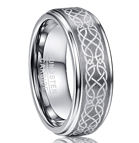Vakki Men S 8mm Laser Celtic Knot Brushed Tungsten Carbide Wedding