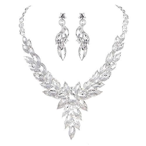 621f7b394c Youfir Austrian Crystal Rhinestone Bridal Wedding Necklace and Earrings  Jewelry Sets for Women
