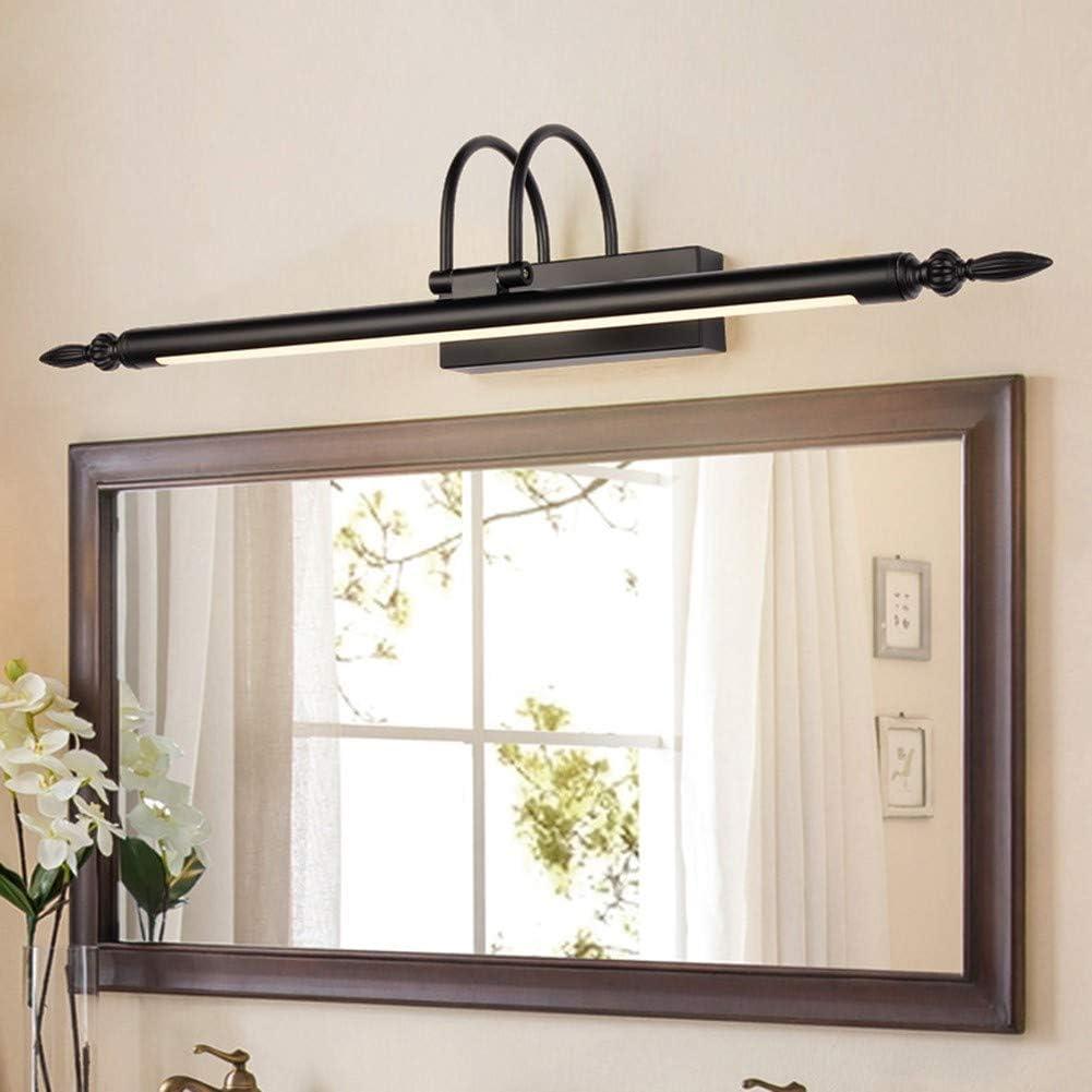 schwarz QLIGHA LED-Spiegel Scheinwerfer Vintage Metall Einfache Acryl Badezimmerspiegel Licht wasserdicht und feucht Wandleuchte