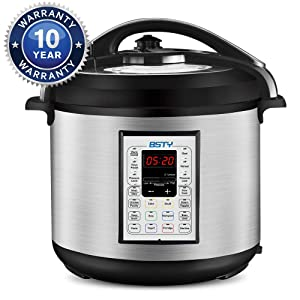 BSTY Premium 8 Quart Pressure Cooker with 13-in-1 Cook Modes Including Slow Cooker and Manual Electric Pressure Cooker | Stainless Steel