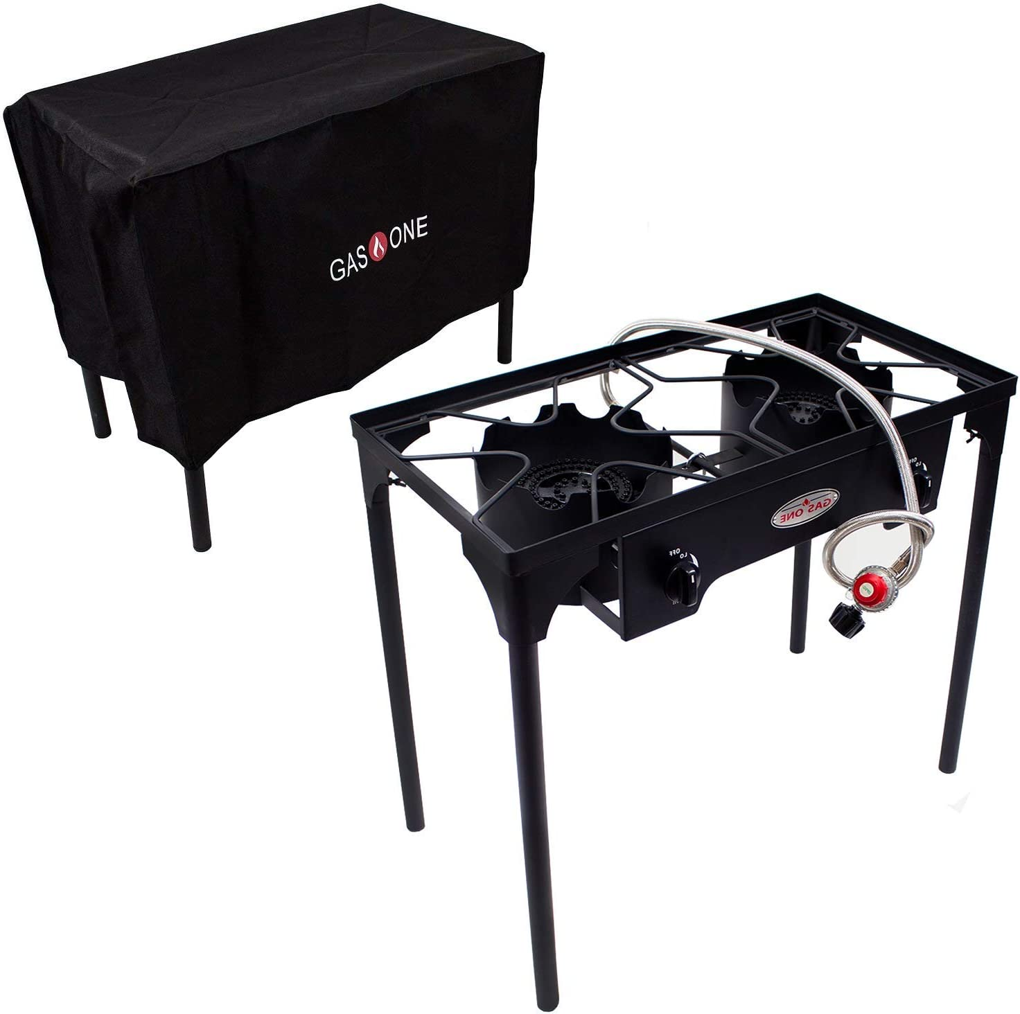 GasOne B-5000+50450 Burner & Cover 2 Burner Gas Stove Outdoor Propane, 30.75 x 15.75 x 18.5 inches, Black