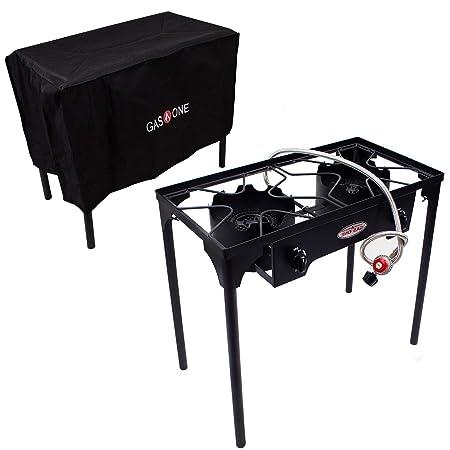 GasOne B-5000 50450 Burner Cover 2 Burner Gas Stove Outdoor Propane, Black