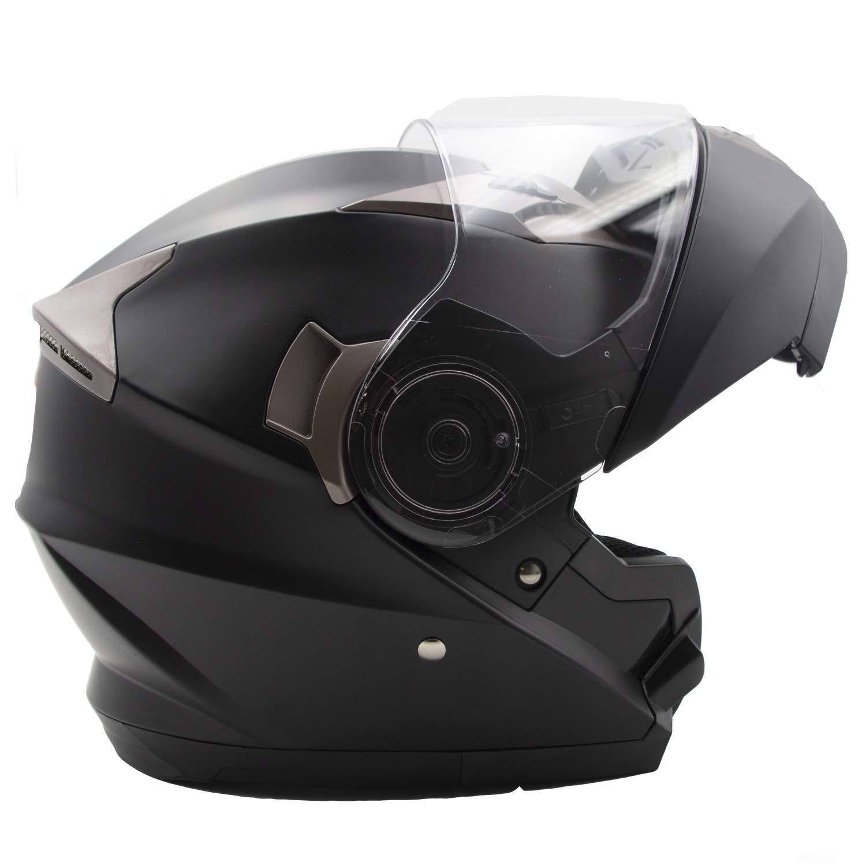 NH Noir, L Double Visi/ère Casque Moto Modulable Femme Nat Hut Casque Scooter Modulable Homme Homologu/é ECE