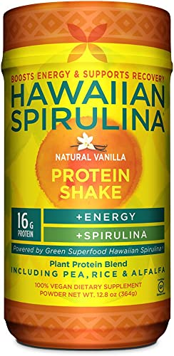 Hawaiian Spirulina Plant Protein Shake, 12.8 Ounce – 16 Gram Protein per serving – Natural Vanilla – Boosts Energy Supports Recovery – Non-GMO, Vegan, Gluten Free