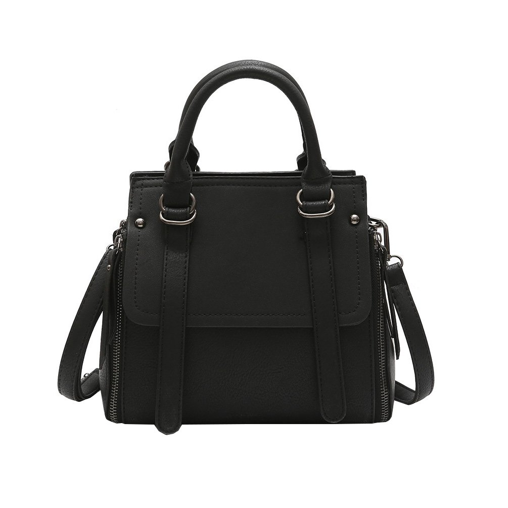 Black Vbiger PU Leather Handbag Retro Shoulder Bag Crossbody Bag Top Handle Handbag for Women