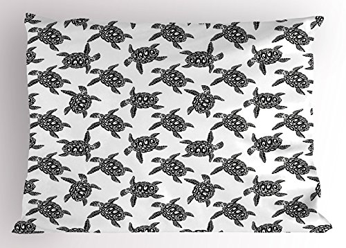 Lunarable Sea Animals Pillow Sham, Monochrome Illustration of Swimming Marine Sea Turtles with Tribal Details, Decorative Standard Queen Size Printed Pillowcase, 30 X 20 inches, Black White by Lunarable