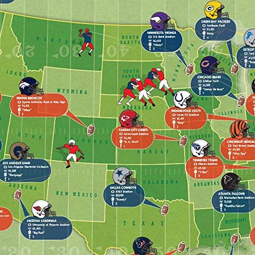 Front Lamination Maps International NFL Pro Football Stadium Map Wall Poster 34 x 22