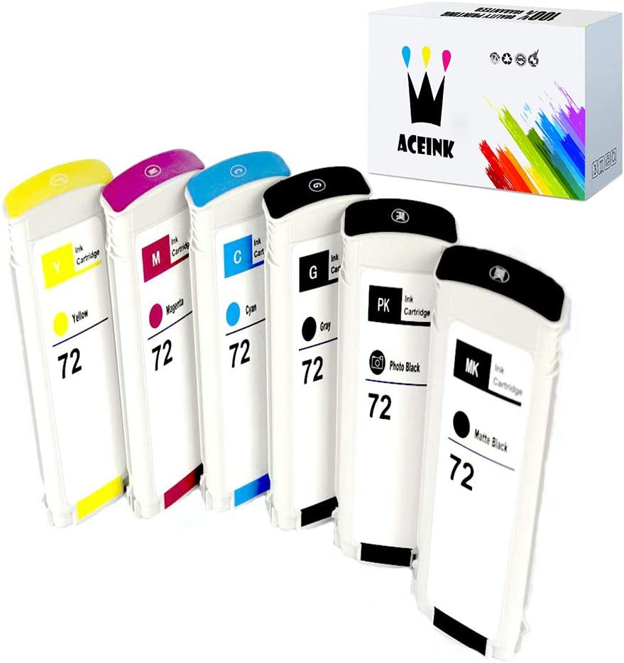 AceInk 6 Packs Compatible HP72 Ink Cartridge High Yield with Latest Chips Works for HP DesignJet T1100 T1120 T1200 T1300 T2300 T610 T620 T770 T790 T795