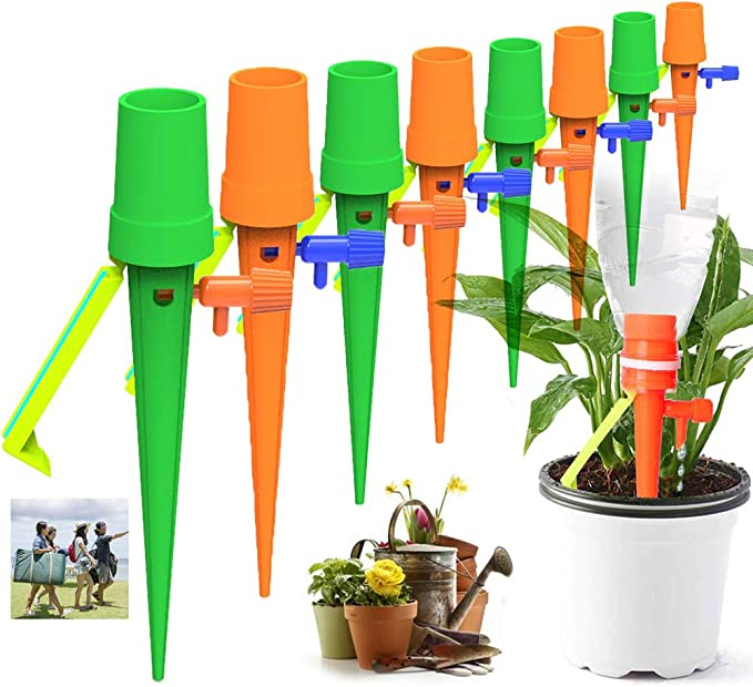 QWEPU 20pcs Self Watering Spikes Irrigation Spikes Automatic Watering Devices with Slow Release Control Valve Switch forOutdoor Indoor Flower or Vegetables