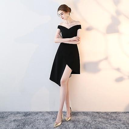 Vestido de noche Negro Banquete Sexy Vestir Falda En Forma De A Fiesta Falda Corta (