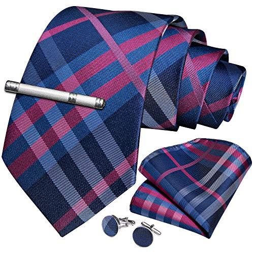 DiBanGu Pink Blue Tie Silk Plaid Necktie Pocket Square Cufflink Set for Men Formal Business