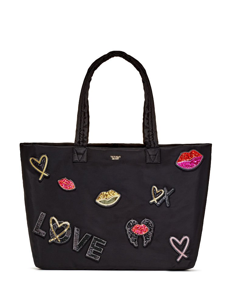 Victoria's Secret Runway Patch Weekender Tote Bling Black Large NWT by By VS