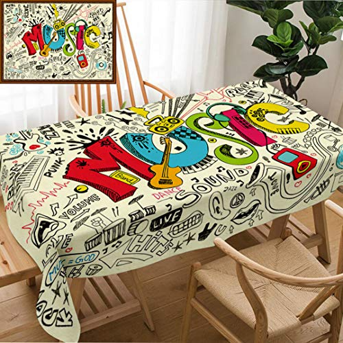 Unique Custom Design Cotton And Linen Blend Tablecloth Music Pop Art Featured Doodle Style Musical Background With Instruments Sound Art IllustraTablecovers For Rectangle Tables, Large Size 86