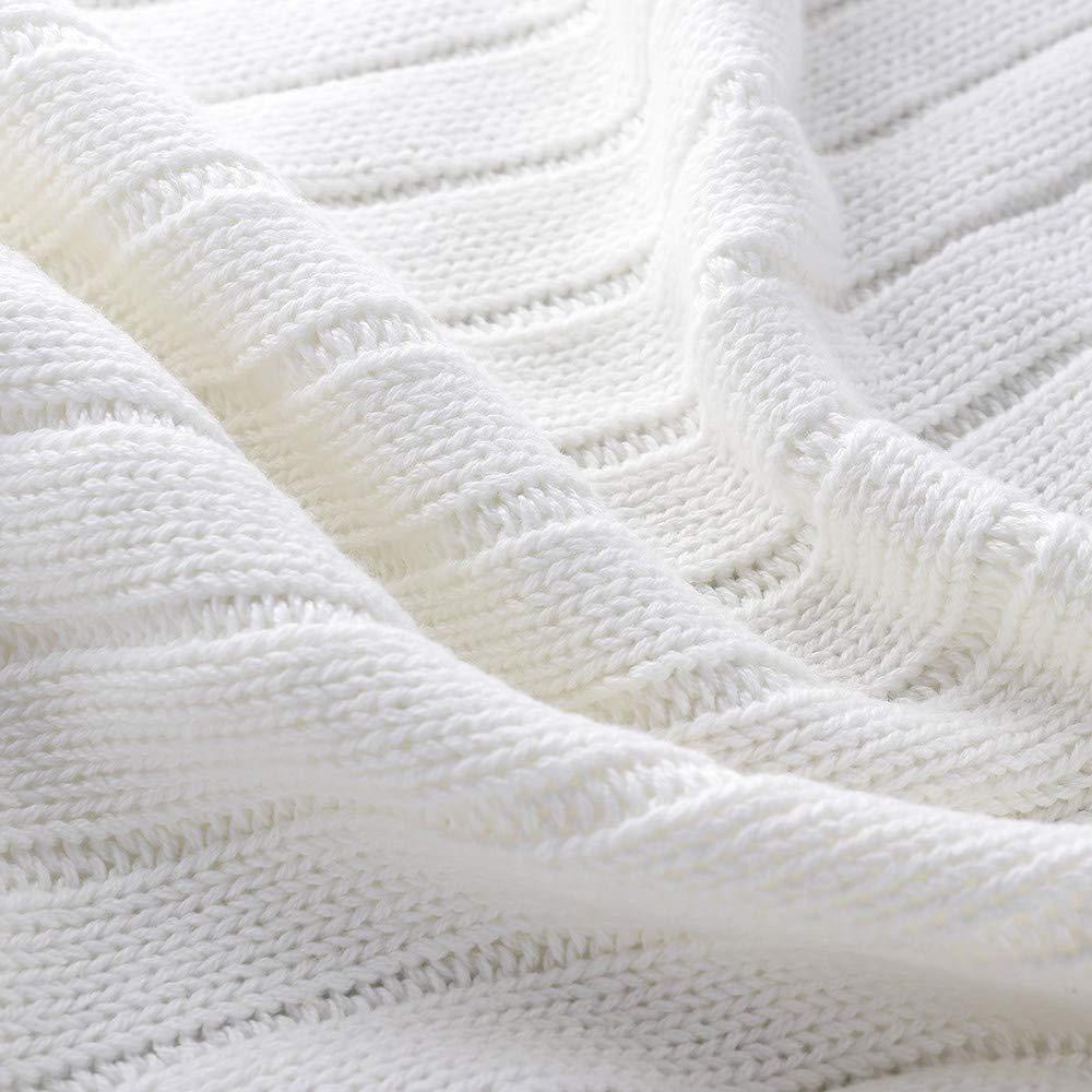 100/% Coton Doux Pompons Franges Solide hypoallerg/énique ray/é c/âble en Tricot Jet/é de lit 90/x 90/cm Coton 90 x 90 cm Neuf en Tricot Jet/é de lit canap/é//lit//canap/é Housse Green