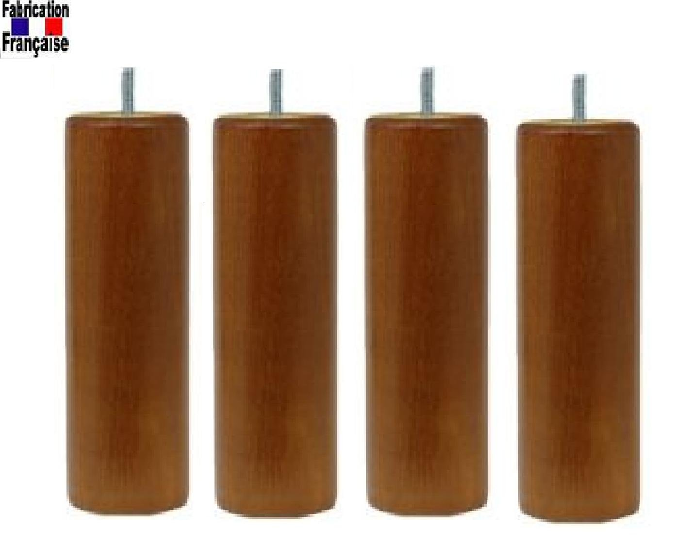 Set of 4 Legs Cherry 20 cm Beech Wood Wood Selection