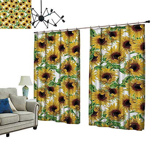 (PRUNUS Room Darkening Curtain with Hooked ried Sunflowers Wildflowers Branch Herbarium Artistic Fine Thermal Insulated Blackout Window Curtain,W108 xL96.5)