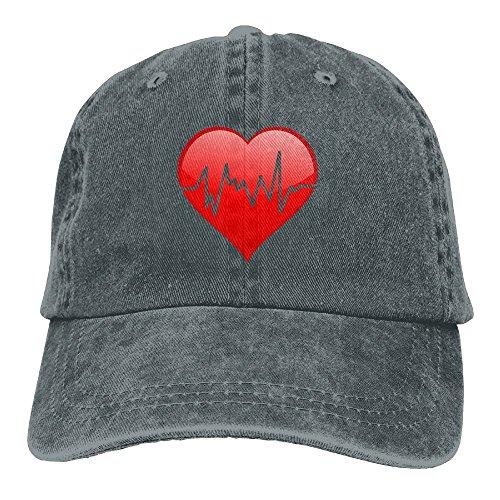 MAKEMR Red Heartbeat Adult Unisex Adjustable Denim Hat Plain Trucker Washed Snapback - Park Florida Pear