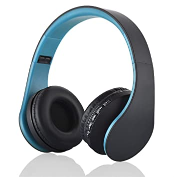 Auriculares Bluetooth Inalambricos de Diadema Cascos Plegables, Bluetooth Over Ear Headphones con Micrófono Micrófono FM TF Tarjeta AUX para PC TV Teléfonos ...