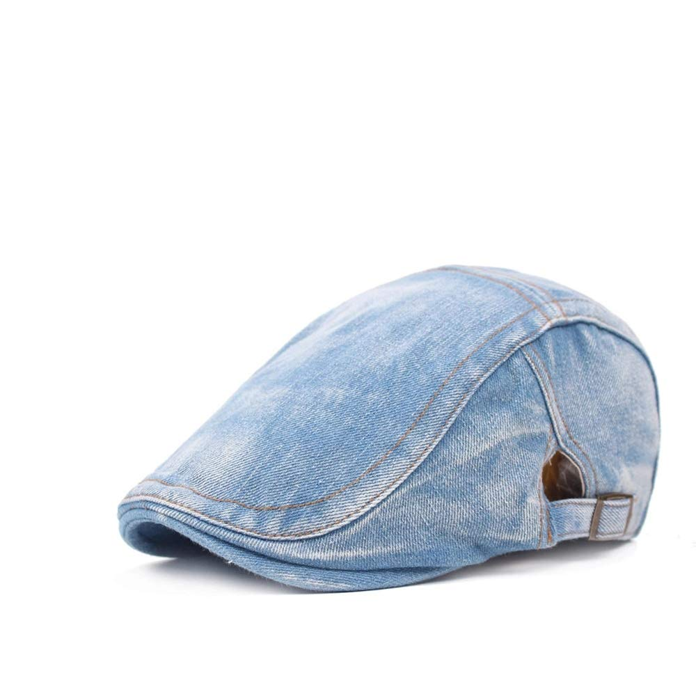 ZEVONDA Denim Hat- Vintage Casual Size Adjustable Hat for Men and Women Blue+White