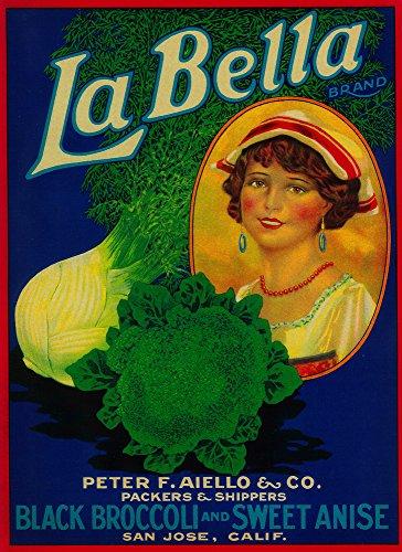 - San Jose, California - La Bella Vegetable - Vintage Crate Label (12x18 Art Print, Wall Decor Travel Poster)