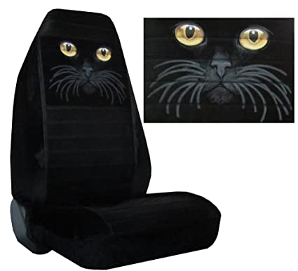Seat Cover Connection Gold Cat Eyes Print 2 High Back Bucket Car Truck SUV Covers