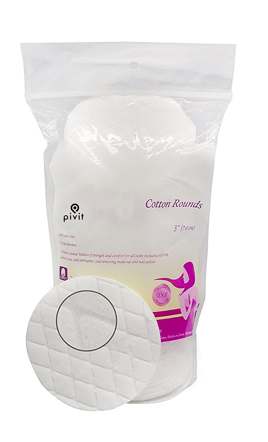 Pivit Facial Cleansing Cotton Rounds | 3 | Bag of 50 | Plush Ultra Absorbent Quilted Organic Pad For Exfoliating Sensitive Skin | Use Wet Or Dry Remove Makeup & Nail Polish Apply Toners & Lotions