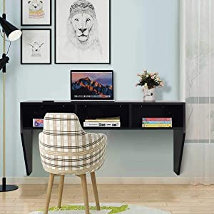 Space Saving Floating Laptop Desk,BestComfort Wall Mounted Computer Table with Storage Shelves for Bedroom,Office