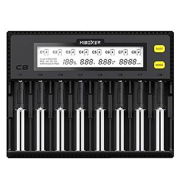Festnight MiBOXER C8 Inteligente Universal 1.5A 8 Bay Pantalla LCD Cargador de batería para 18650 Li-ion LiFePO4 Ni-MH Ni-Cd AA 21700 26650 18350 ...