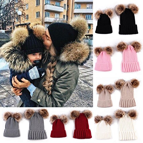 gotd-2pcs-mother-baby-knit-pom-hat-winter-warm-beanie-cap-0-5-months-baby-black