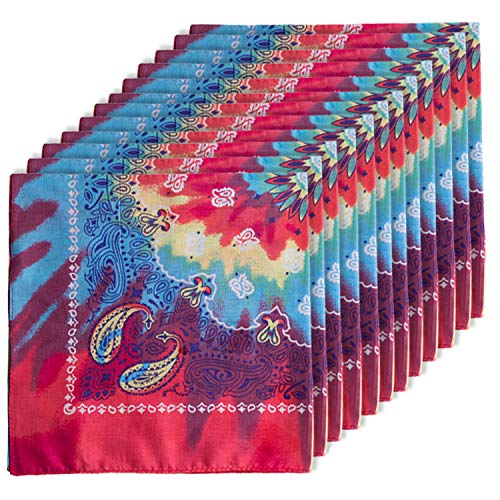CoverYourHair Paisley Bandanas - 12 Pack Bandanas - Tie Dye Bandanas - Novelty Bandanas