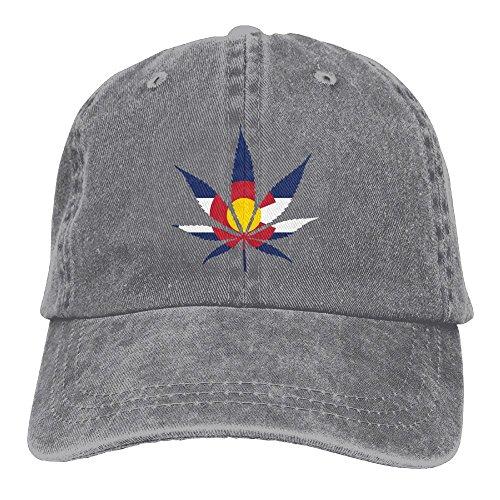 Arsmt Weed Colorado Flag Denim Hat Adjustable Unisex Cute Baseball Hat