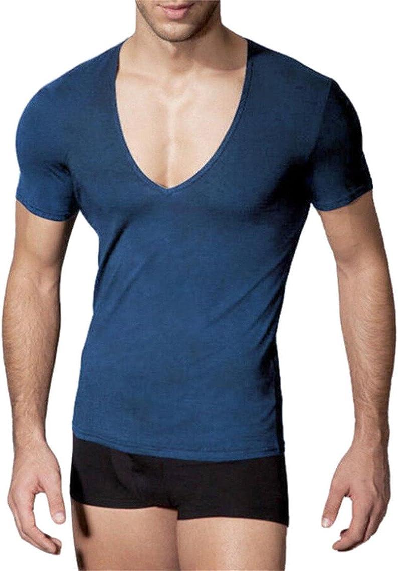 M/&S/&W Mens Deep V Neck T-Shirt Unisex Tshirt Male Vneck Tee Top