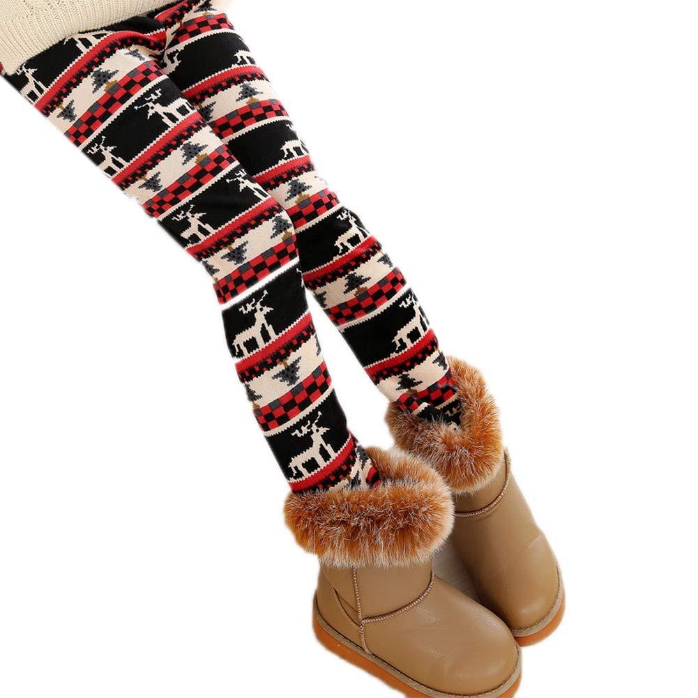 Big Kids Girls Thick Tight Pants Winter Warm Pearl Velvet Printing Toddler Stretch Leggings
