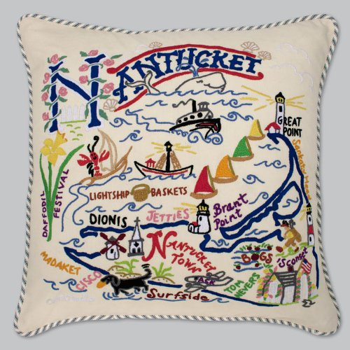 Catstudio Nantucket Pillow - Geography Collection Home Décor 078(CS) by Catstudio Embroidered Pillow