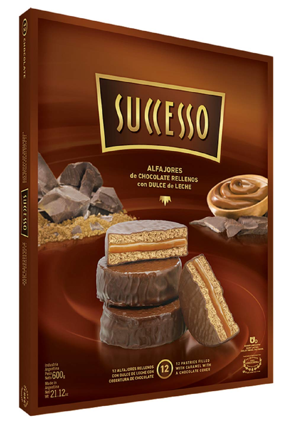 Argentina Alfajores Successo, Chocolate Coated Cookies and Filled with Argentinian Dulce de Leche, Typical Argentina Food, Argentina Candy Great for Gift, (Box of 12 Units, Milk Chocolate Coat)